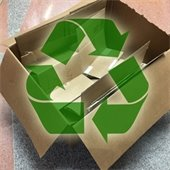 Cardboard and recycling symbol